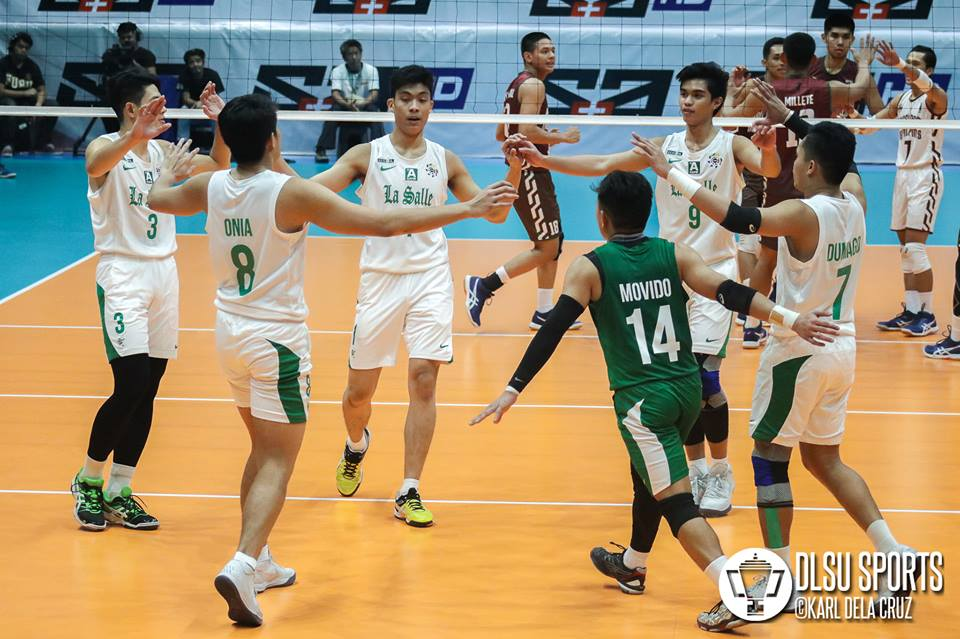 The DLSU Green Spikers showed their offense and defense to give them their first win of the season.