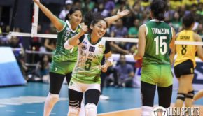 Lady Spikers' prized libero Dawn Macandili claimed the Finals MVP award after averaging 22.5 excellent digs and 10.5 excellent receptions in the series.